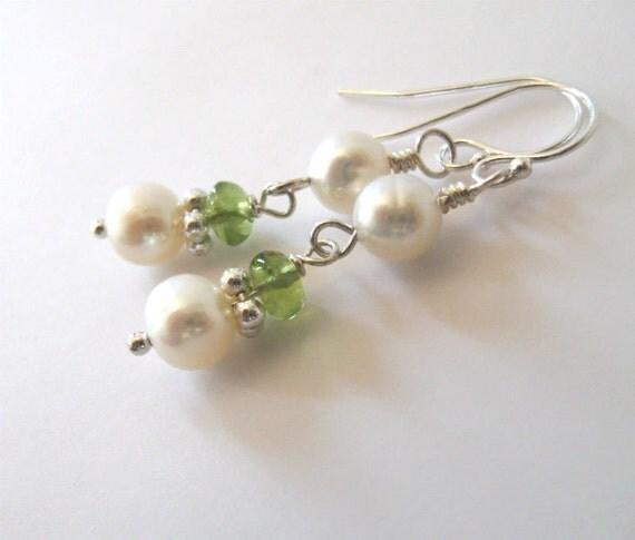 Peridot Gemstone Pearl Earrings Sterling Silver, Freshwater Pearls, August Birthday