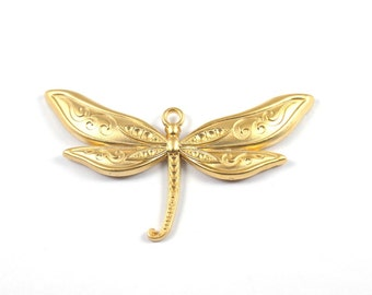 1pc- Matte 22K Gold Plated  HUGE Dragonfly Pendant-80x45mm-(021-009GP)