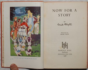 Antique 1948 Now For A Story Enid Blyton illustrated art by Frank Varty folktales bedtime stories kitschy Americana fairy tales myth book