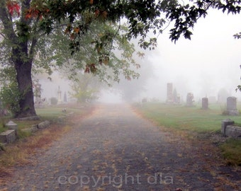 Foggy Cemetery Path. 5x7 Graveyard Photo Art Print. Misty autumn morning. Halloween, everyday decor.