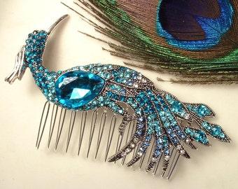 Turquoise Blue Rhinestone Peacock Bridal Hair Comb, Heirloom Teal Bird Silver Brooch to Large Headpiece Art Deco Aqua Blue Wedding Accessory