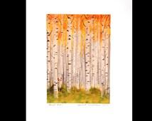 Fox in an Autumn Birch Forest Print of Original Illustration