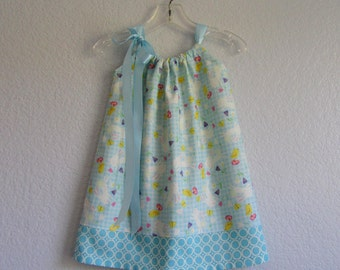 Toddler Girls Pillowcase Dress - Blue & White Gingham with Bunnies and Chicks - Little Girls Sun Dress - Sizes 12m, 18m, 2T, 3T, 4T, 5 or 6