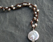 Pearl Coin with Woven Pearls Necklace