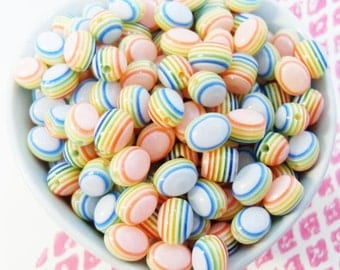 30x 10mm Resin Pastel Rainbow stripe Oval beads