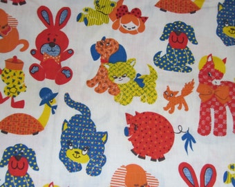 Four Vintage Curtain Panels - Cheery Kids Room Animals - 31 Inch Wide