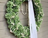Apple Green Glitter Pinecone Wreath, White Pearl Garland, White and Green Bow