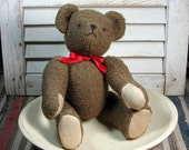 Vintage Handmade Teddy Bear Jointed Posable Nubby Brown Fabric Padded Paws Bowl Filler 1980s Well Behaved Wants To Be Your Valentine