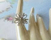 Vintage Sarah Coventry Silver Flower Ring Adjustable
