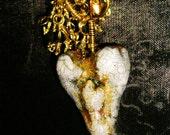 Lavish Heart Necklace Cascading Beads Raku Style Heart