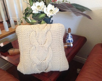 Ready-Made Knit Pillow ---V CABLES in CHUNKY LINEN  (16in)