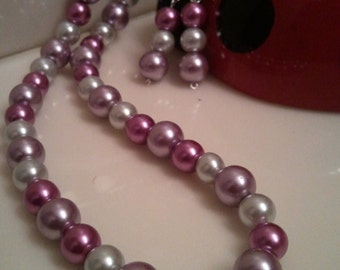 Handmade Beaded Necklace - Handcrafted Beaded Necklace - Purple Pearl Necklace - Purple and Ivory Necklace 24.50