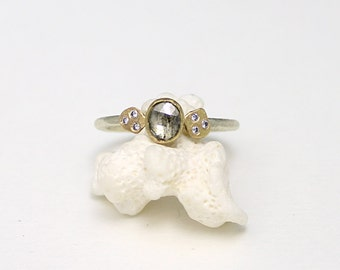 1ct rose cut grey diamond ring, engagement ring, white and yellow gold