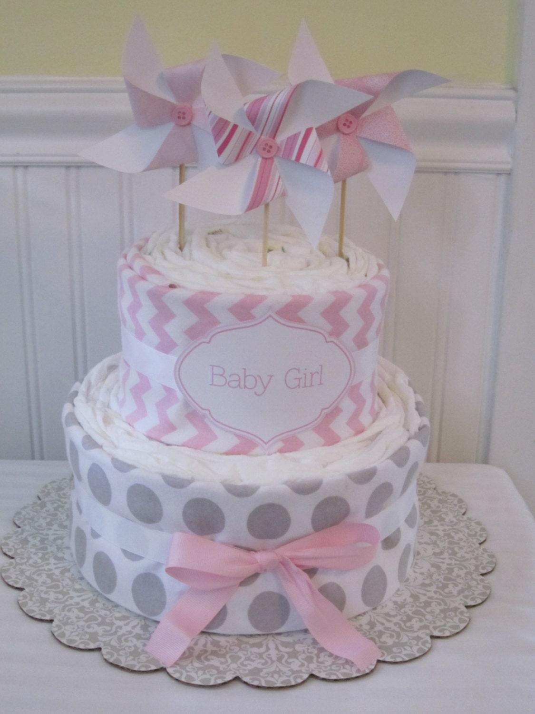 Pinwheel Diaper Cake-Baby Girl Gift