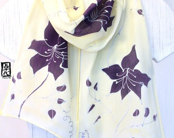Silk Scarf Handpainted, Gift for Women Scarf, Purple Scarf, Light Yellow Scarf, Purple Clematis Vine Scarf, Silk Scarves Takuyo, 8x52 inches