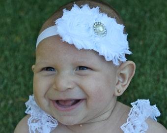 White Baby Headband - White Flower Baby Headband