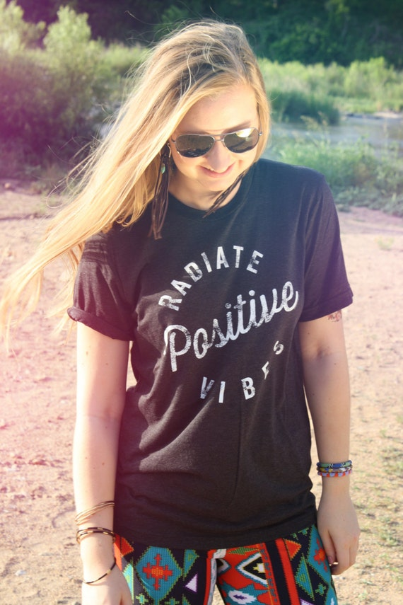 Positive Vibes Shirt, MEDIUM, Radiate Positive Vibes, Tee, Good Vibes Tshirt, Graphic Tee