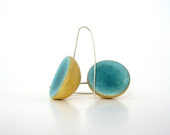 Minimal emerald yellow  dome clay earrings eco friendly blue green teal modern jewelry, shabby chic medium long earrings,  sterling silver