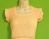 Vintage 70s Peach Color Crochet Top Sm Med Clothing Cropped Top Summer Spring Hipster Indie Boho Hippie Women