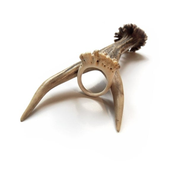 Deer Antler Ring Engagement Ring For Women Rustic Forest