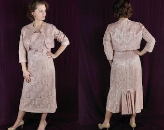50s Dress / Mad Men / Wiggle Dress / Bolero Jacket / Lace / Vintage Wedding