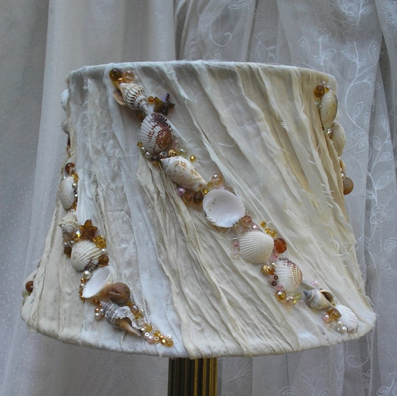 Beach Cottage Lamp Shade With Shabby Chic Ivory Off White