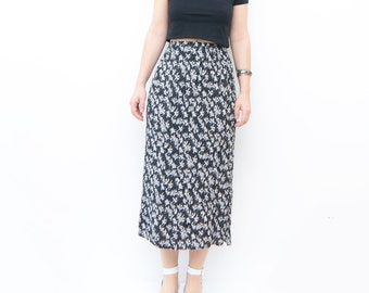 Vintage black floral 90s grunge maxi skirt