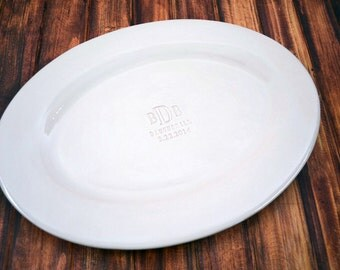 Wedding Gift, Anniversary Gift  or Signature Guestbook Alternative -  Personalized Oval Platter  - Gift Boxed