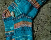 Turquoise hand knit socks for women, knit socks, wool socks women