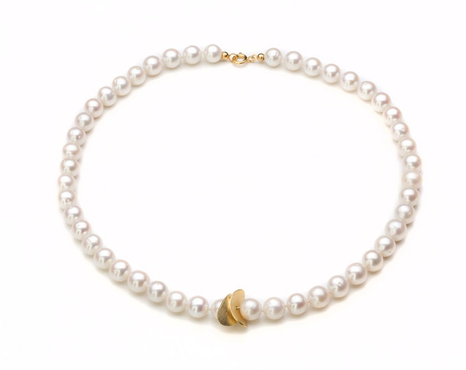 Chain, 925/000 white silver, freshwater pearl, 18 CT plated gold, 14 kt gold clasp.