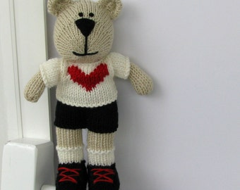 Lover Boy Toy - Heart Plush - Knit Teddy Bear Toy - Valentine Toy - Hand Knit Stuff Animal - Child Toy - Knit Toy - Kids Stuff Toy Cody
