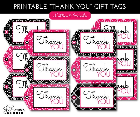 Digital Clipart-Printable Gift Tags-Black-Hot Pink-Lattice
