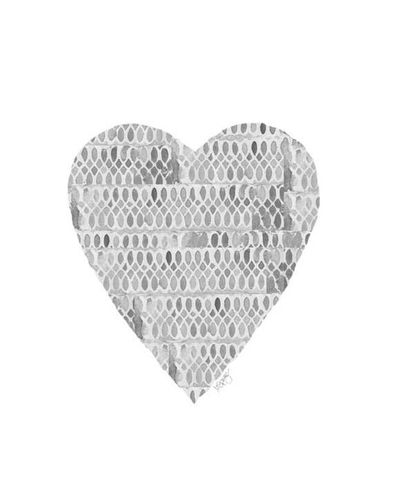 Gray Lacey Heart Print, 8x10