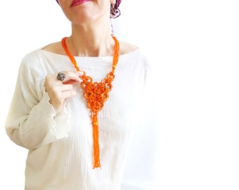Orange Natural Wooden Beaded Bold Flower Tassle necklace, Daisy necklace, Indian style, Boho necklace