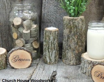 10 qty Tall Rustic Candle Holders, Tree Branch Candle Holders, Rustic Wedding Centerpieces, Wood Candle Centerpieces