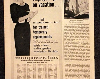 Temp Agency Ad - Manpower - Retro Office Advertising - 1961 - 1960