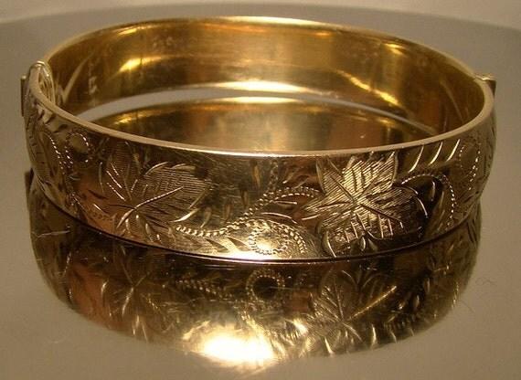 Rolled Gold Plate Hand Engraved Bangle Bracelet 1960 Lovely