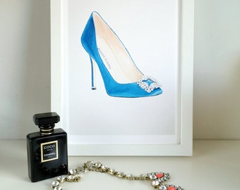 Blue Manolo Blahnik Shoe - A4 Art Print