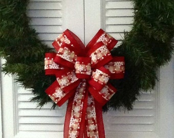 Red Wreath Bow Large/ Cherry Red Plaid Wreath Bow/ Red Holiday