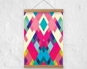 Colorful Abstract art print - A4, A3 size - Diamonds - geometric modern art