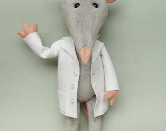 Plush stuffed rat toy- Stuffed animal - Stuffed rat toy - plush rat  - soft sculpture - Rat softie - Rat plushie - Dr Snout the lab rat