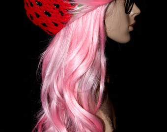 Red Watermelon Slouchy Beret / Ready to Ship