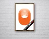 Zira - Seen in Mad Men Season 7 Retro Vintage Inspired Op Art Print Panton 60s 70s Orange Circles Hoops A2 original poster minimalist zen