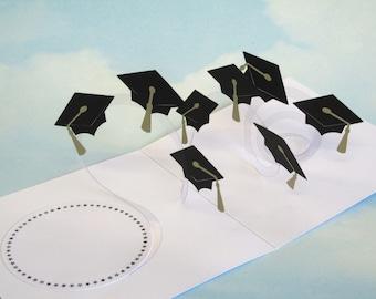 Graduation Card Spiral Pop Up - Congratulations Graduate - 3D Paper Cut Mortar Board - Hats in the Air
