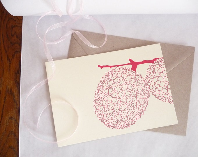 Featured listing image: Lychees card - Letterpress notecard - Blank notecard - geometric print art - geometric pattern - flat note - heavy stock cotton paper