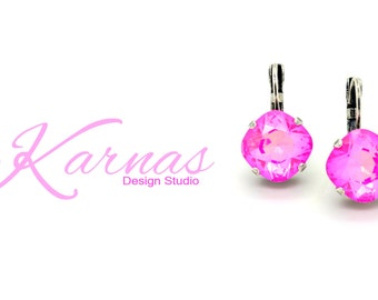 ULTRA PINK 12mm Crystal Cushion Cut Leverback Earrings Made With Swarovski Elements *Pick Your Metal *Karnas Design Studio *Free Shipping*