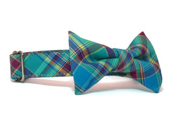 Plaid Bow Tie Dog Collar Combo - Preppy Teal Dog Collar and Bow Tie - Custom Collar and Bow