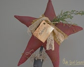 Handmade Primitive Burgundy Star Shelf Sitter