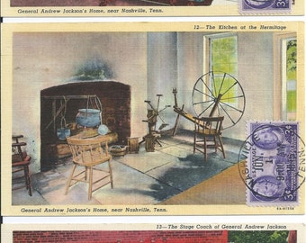 Ten First Day Linen Postcards Commemorating President Andrew Jackson and Tennessee Statehood