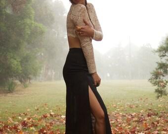 Faithfull Black High-Waisted Maxi Skirt with Slits
